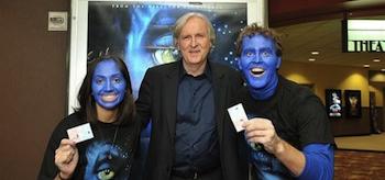 James Cameron, Blue Face Fans, Avatar 2010, Imax Header
