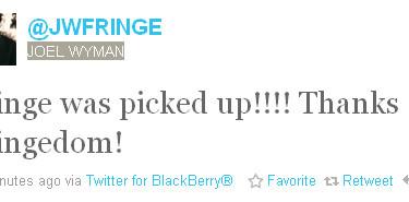 J.H. Wyman, Fringe, Season 4 Tweet