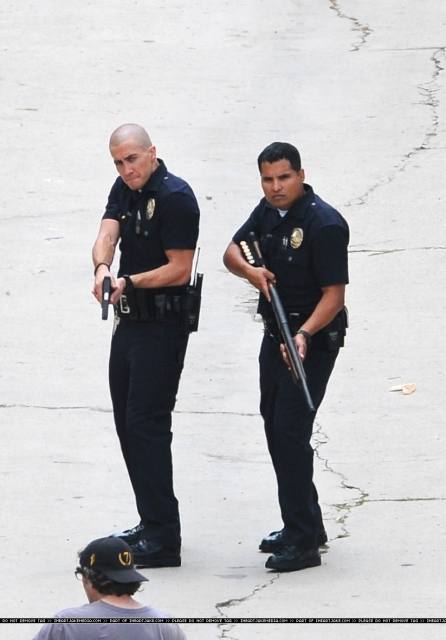 Jake Gyllenhaal, Michael Pena, End of Watch, Los Angeles Set Photo, 02