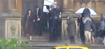 Anne Hathaway, Christian Bale, The Dark Knight Rises, Set Photo