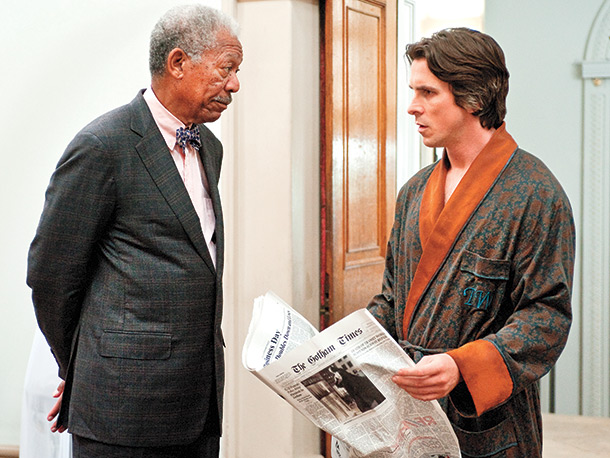 Christian Bale Morgan Freeman The Dark Knight Rises Newspaper