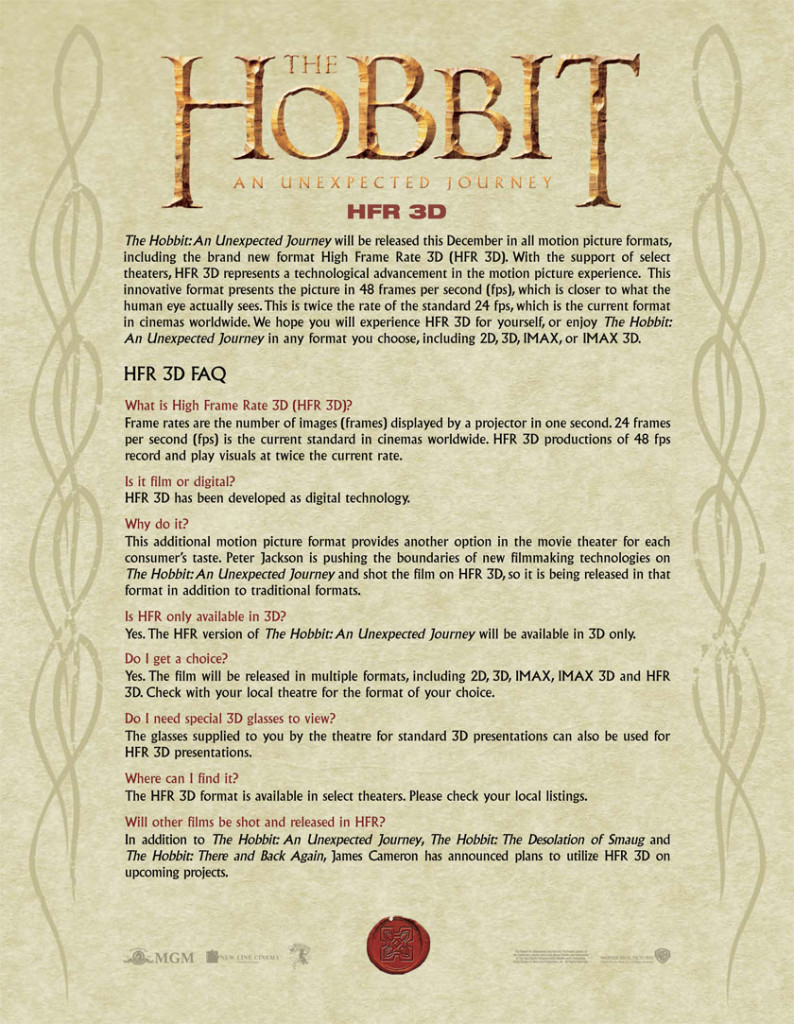 The Hobbit An Unexpected Journey HFR 3D FAQ