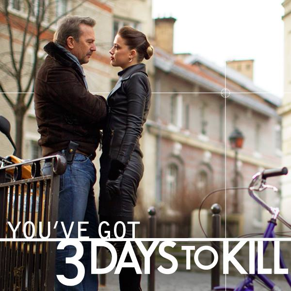 Kevin Costner Amber Heard 3 Days to Kill movie poster