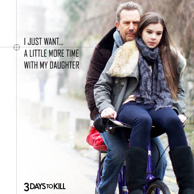 Kevin Costner Hailee Steinfeld 3 Days to Kill movie poster