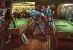 Marvel & DC heroes wind up sharing a pool hall....