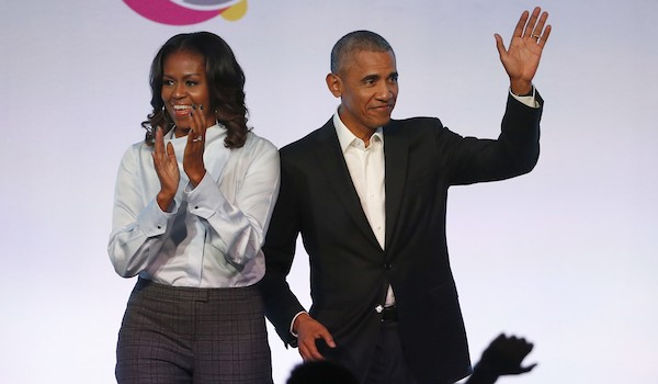 Michelle Obama Clapping Barack Obama Waving